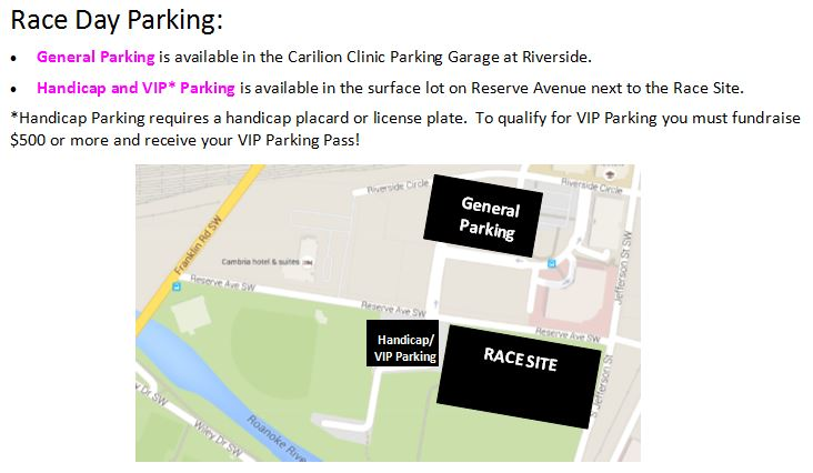 ROA 2018 Race Day Parking Map